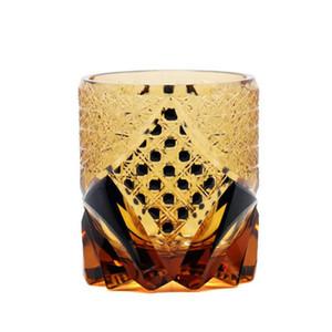 Whisky Glasses Japanese kiriko Style Cut Glass Crystal Whiskey Cup Chrysanthemum Mesh Pattern Black Drinking Glasses