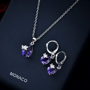 Women Crystal Pendant Necklace Earring Jewelry Set 925 Silver Chain Necklace Jewelry