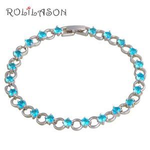 Rolilason Agua de mar azul Zircon Pulseras para Mujeres Plata Diseño Redondo Romántico Moda Vacaciones Regalo Joyería TBS1096