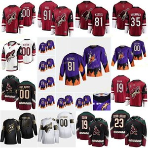 Custom Arizona Coyotes Hunt Dryden 28 Keller Clayton 9 Kessel Phil 81 Kuemper Darcy 35 Larsson Johan 22 Homens Mulheres Youth Stitch
