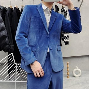 High Quality Korean Slim Fit Gold Velvet Suit Men Clothes 2021 Simple Business Formal Wear Wedding Dress Blazers Jacket +Pants