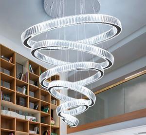 Lámpara de araña moderna para la sala de estar grande Hall de la escalera LED de cristal Lájaros de cristal Anillos redondos Lámpara de decoración para el hogar