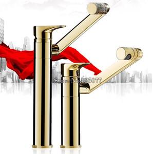 Alto e moderno bagno rubinetto maniglia 360 gradi Miscelatore Single Hole Vanity Sink Faucet oro KF793 Brass