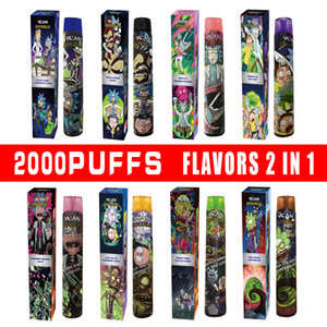 original 2000puffs 2in1 flavors disposable device 8ml vape pen Vcan double R&M with strong battery high quality fast shipping