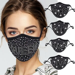 Fashion Bling 3D Washable Reusable Mask PM2.5 Face Care Shield Sun Gold Elbow Sequins Shiny Face Mount Masks for PM2.5 Filter