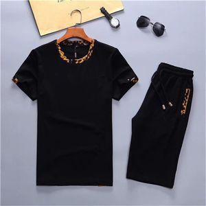 2020 Nuevos chándales Diseño de moda Camiseta + Pantalones 2 piezas Conjuntos Sólidos Color Sits de Alta Calidad Diseño Suda Trajes de Suda