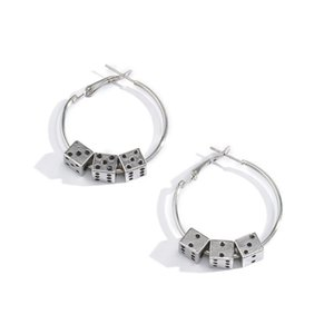 10pairs Lot Europe Fashion Metal Hoop Earrings With Dice Design Retro Circle Ear Drop Women Party Cool Style Dangle Earring Jewelry
