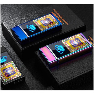 Electronic Cigarette Lighter Windproof Double Fire Cross Twin Arc Pulse Electric Arc Colorful Usb Charge Lighters bbyXgs packing2010
