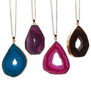 Natural Geode Irregular Slice Blue Stone Druzy Quartz Pendant Necklace Healing Crystal 1pcs