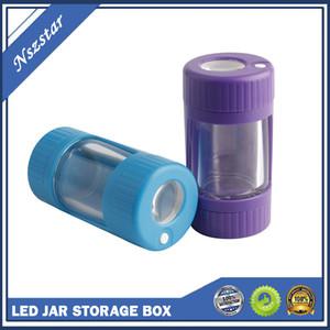 LED Glow Kavanoz Depolama Konteyner Alt Öğütücü Ile 155 ml Stash Kavanoz 4 Renkler Kuru Herb Tütün Parlayan Vakum Şişeleri