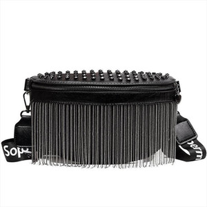 Women Punk Rivet Waist Bags Tassel Cool Fanny Pack Leather Chest Belt Bags Crossbody Shoulder Phone Money Bum Hip Purse