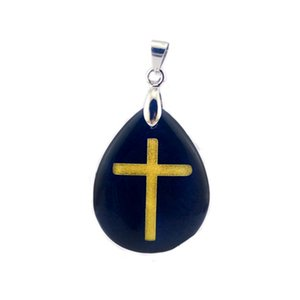 Natural Obsidian Water-drop Shaped Reiki Healing Jewelry Engrave Christian Cross Golden Pendant Men's And Women's Stone Pendants Necklace