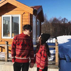 2020 Autumn Winter Couple Sweaters Turtlenecks Christmas Sweater Knitted Deer Long Sleeve Pullover Women Men Knitwear