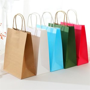 21x11x28cm Thicken Kraft Paper Bags Clothing Shopping Paper Bag Kraft Handbags Gift Package Bags With Rope 10pcs lot