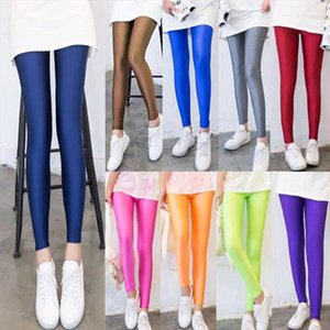 Neon Spandex Leggings Ladies Shiny Leggings Women Skinny spandex Polyester Stretch Dancing Fitness Pants Drop Shipping