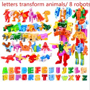 26 English Letters Transform deformation into dinosaurs Animals 8 robots Creative Action Figures Building Block toy Kids gifts Q1126