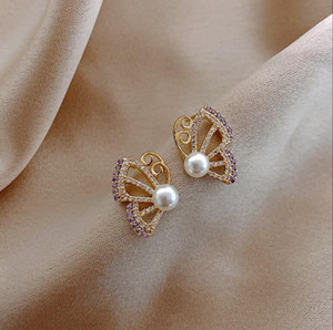 2020 Nuevo Coreano Rhinestone Golden Pearl Butterfly Forma Pendientes Sweet Generosa Moda 470