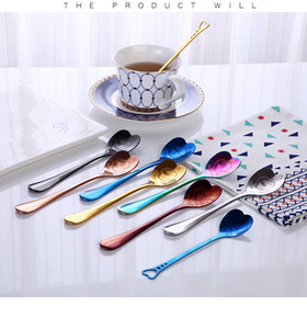 Love heart shaped spoon Colorful ice cream spoon coffee tea stir spoons for party wedding supplies kitchen accessories LXL1106 HB