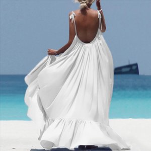 Summer Dress 20220 Women Boho Maxi Solid Sleeveless Long Backless Dress Evening Party Beach Sukienki Damskie Eleganckie