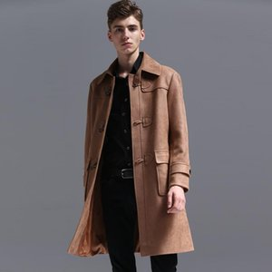 Coat Fashion Tactic Suede Trench Men 2021 Spring and Autumn New Style Retro Jacket Mens Chamois Windbreaker Long Coats