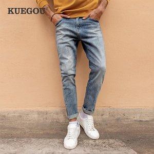 Kuegou 2021 primavera Algodão Blue Skinny Jeans Homens Streetwear Marca Slim Fit Denim Calças Para Calças Estrias Clássicas Masculinas 1839