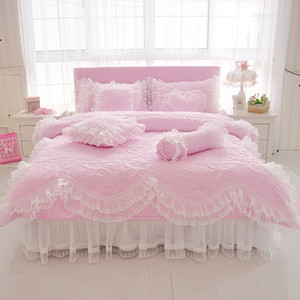 100%Cotton Thick Quilted lace Bedding set King queen Twin size Bed set Princess Korean Girls White Pink Bed skirt set Pillowcase CY200519