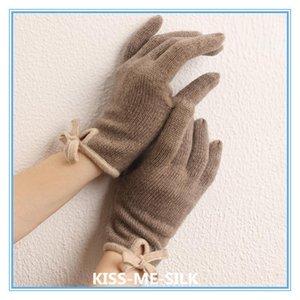 KMS Autumn Winter warm cashmere knitted heterochromatic-edge bow knot finger gloves for Girls Lady Women 9*22CM 30G