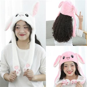 Funny Plush Animal Hat Cap with Airbag Jumping ear Movable Gift