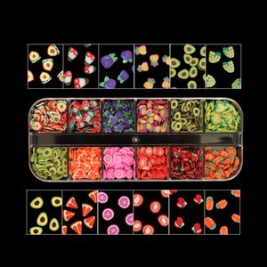 Cute Fruits Nail Art Glitter Flakes Slice Various Shapes 3D Polymer Clay Orange Cherry Sequins For Nail Decorations Manicure