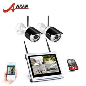P2P 4CH CCTV Wireless NVR Kit 12 Inch Monitor 2pcs 36 IR 960P HD WIFI Outdoor IP Camera Surveilance System HDD Disk1