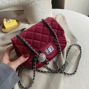 Outono / inverno veludo diamante cadeia saco senhora nova moda clássico um saco de ombro inclinado quadrado pequeno