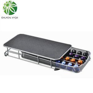 Duolvqi Coffee Pod Holder Storage Drawer Coffee Capsules Organizer for 40pcs Nespresso Capsules Y1116