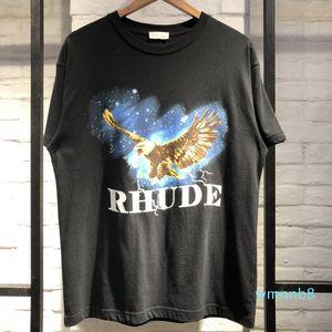 19SS Top T Camiseta Rhude Vintage T-shirt Moda t - shirts Estilo de algodão Designer T-shirt T-shirt Águia Verão Whkmg