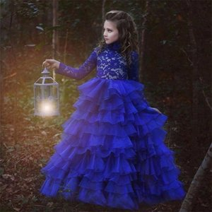 Lace Tiers Organza Flower Girl Dresses Long Sleeve Ball Gown Kids Pageant Dresses High Neck Royal Blue Girls Dresses For Wedding