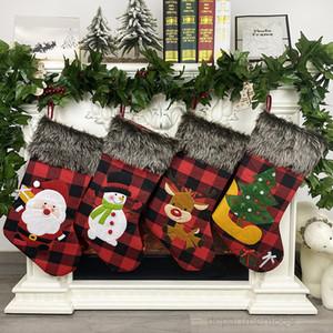 Plaid Stockings Gift Santa Claus Deer Snowman Candy Bag Hanging Socks Pendant Christmas Decorations OWE791