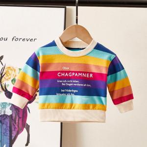 Личный праздник осени малыш малыш девочек девочек детские толстовки топы с длинным рукавом радуга футболка толстовка одежда наряд 0-3Y F1216