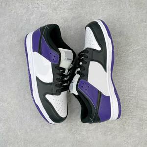 Nouvelle libération Skate Bas Purple Toe Skateboard Chaussures à lacets Blanc Violet Black Hommes Chaussure Court Violet Chaussures Violet Baskets