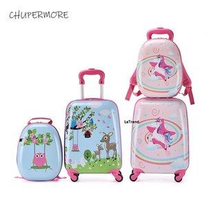 Chupermore carino cartone animato bambini rotolamento bagagli set spinner 18 pollici carry ons studente bambini zaino ragazza ragazzi valigia ruote