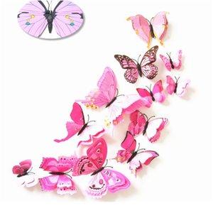 12 unids Multicolor Multicolor Alas de la capa de la mariposa 3D Butterfly Etiqueta de la pared Imán PVC mariposas fiesta dormitorio Dormitorio Decoración BBYWOA