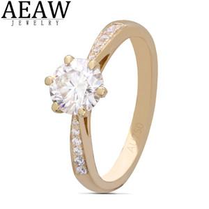 AEAW 6,5 mm 1.0ct Corte redondo 10K 14K Oro amarillo Moissanite Anillo Medio Eternity Tamaños Full Full Dazzling Jewelry Y1128