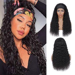 Wave Wave Diadema WIG Pelucas para el cabello humano para las mujeres negras Bufanda brasileña Pelucas de pelo humano Remy Remy Rizado