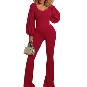 Vêtements féminins Couleur Solide Lanterne Sleeve Combinaisons Jumpsuits d'automne Knit Skinny Sexy Mesdames Rompers Fashion Casual