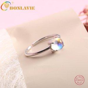 Cluster Rings BONLAVIE Moonstone Ring 925 Sterling Silver Single Simple Accessories Women