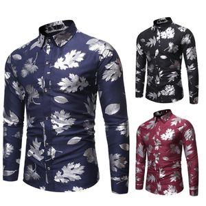 men long sleeve shirt Men's New Style Fashion stamped Long Sleeve Shirt Printed Long-Sleeved Blouse camisas hombre manga larga W809