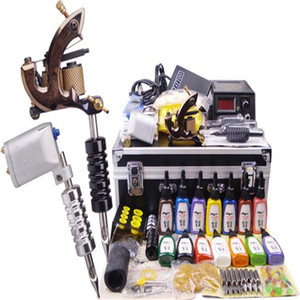 permanent makeup supply 2 guns kit tattoo complete machine professional body piercing kit with carry case box