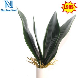 NuoNuoWell Artificial Orchid Leaves Natural lifelike Green Plant Branch With Roots Faux Real Touch Plastic Floral Display