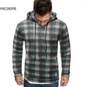 Miicoopie 2019 Homme à capuche à capuche à capuche Plaid impression Pull Sweat-shirt Homme Port1