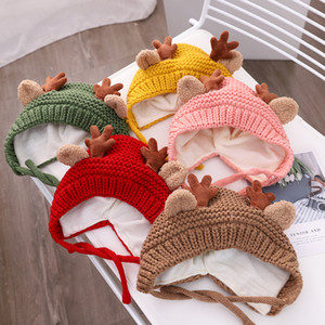 5 Colors Baby Knitted Hat Autumn And Winter Infant Cute Antler Wool Hat Children Cartoon Ear Protection Warm Hat DDA2527