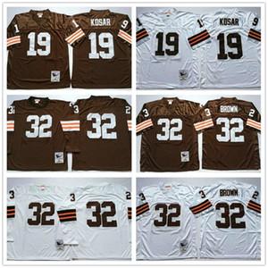 NCAA Vintage Retro Mens # 32 Jim Kahverengi Jersey 19 Bernie Kosar Toptan Uzun Kollu Beyaz Kahverengi 100% Dikişli Futbol Formaları