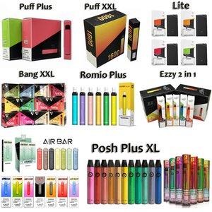 Puf Plus Bang XXL Hava Bar Lite 900 Romio Plus Posh Artı XL Tek Kullanımlık Vape 800 1500 1600 2000 Puffs Tek Kullanımlık Elektronik Sigara